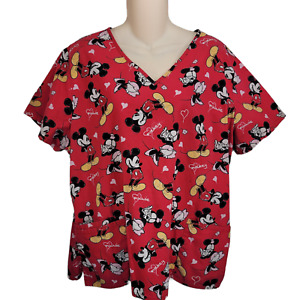 Disney Mickey and Minnie Mouse Womens Scrub Top XL Front Pockets Red DS22