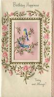 VINTAGE BLUE BIRDS DIE CUT EMBOSSED PINK ROSES BUDS BIRTHDAY GREETING CARD PRINT