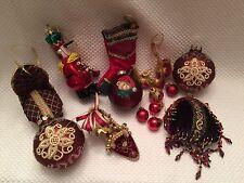 Lot 9 FABRIC Resin Christmas Ornaments Purse, Shoe, Chair Stockings, Glass Balls