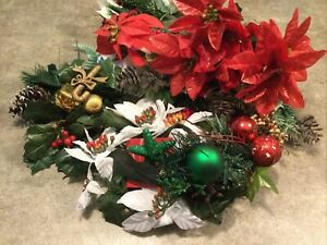 Asstd Christmas Rd/WhitePlastic/ Silk Spray Sprig Greens Floral Accent Craft Lot