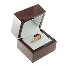 Deluxe Cherry Rosewood Ring Box Display Wood Wooden Jewelry Gift Box
