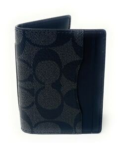 Coach Men's Magnetic Credit Card Case Signature Leather Wallet 91660 $128