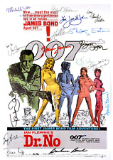 JAMES BOND 007 LOT OF 3 MOVIE POSTERS AUTOGRAPH MULTI SIGNED 8 X 11 LAMINATED
