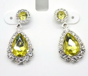 Charter Club Double Drop Earrings Silver-tone Canary Yellow Clear Crystals Halo