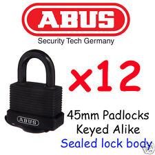 Padlocks x12 Weather Outdoor Waterproof Padlocks ABUS 45mm BULK LOT KEYED ALIKE