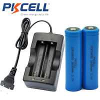 4x 18650 Battery 2600mAh 3.7V Rechargeable Li-ion for Torch Button Top & Charger