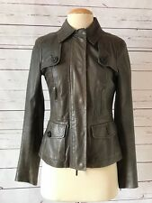 VINCE Womens Size XS Gray Leather Jacket FLAW Taupe