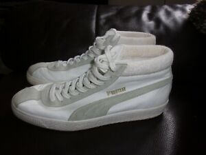 Puma Basket 68 Mid, White & Stone coloured high top mens trainers size 8