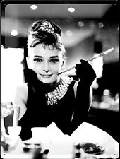 Audrey Hepburn (Holly Golightly) embossed metal sign 40cm x 30cm (na) REDUCED!