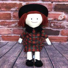 Vtg Madeline Eden Plush Rag Doll 20� 1997 Red Plaid Christmas Dress Velvet Hat