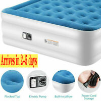 Pillow Rest Inflatable Air Mattress Bed with Built-In Pump Queen//Twin//King US