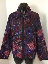 Christopher & Banks Blue Multi Color Blazer Full Zip Polyester Jacket Size Large