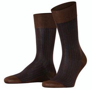 Falke Mens Oxford Stripe Socks - Chestnut Brown