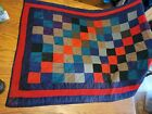 Antique handmade quilt 57x36 checker colorful baby blanket old vtg rug throw