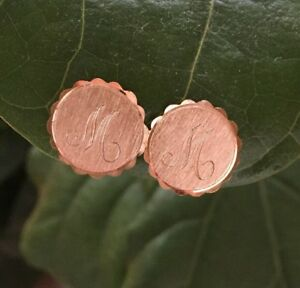 Vintage Monogram Initial Clip 60s Gold Alphabet Earrings Deadstock M Engraved