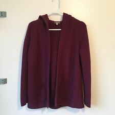 Women's Talbots Hooded Chunky Knit Purple Plum Cardigan Sweater Medium Petite