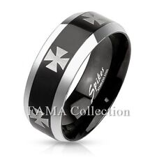 FAMA Iron Cross Stainless Steel Black IP Band Ring w/ Beveled Edges Size 9-14