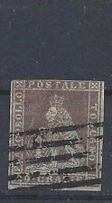 Tuscany Italy 1851 Sc# 8 Lion bluesh paper used CV $375