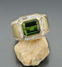 Anillo Turmalina verde Brillantes Diamantes 6,08 ct oro amarillo 750 16 Gramos
