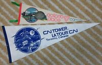 City of Toronto ¾ Size Ontario Place and Full Size CN Tower souvenir Pennant lot