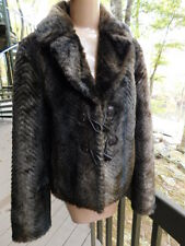 ladies GUESS JEANS shades of BROWN faux MINK FUR JACKET coat Los Angeles  M/L