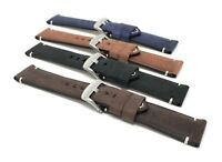 20mm Vintage Watch Band Strap, Leather, Black, Brown, Blue, Tan, White Stitch