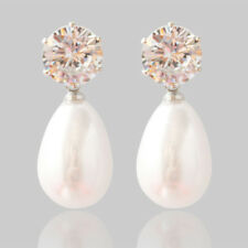 Women Earrings Stud Transparent Crystal White Big Pearl Drop Pendant  Earrings 8