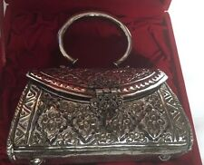 Unique Vintage Metal Purse Handbag Evening Brass/Silver Plated With Original Box