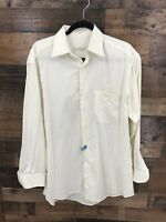 Ermegildo Zegna Mens Cream 100% Cotton Long Sleeve Button Up Dress Shirt 39/15.5