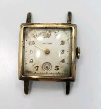 Vintage Mid Century Yellow Gold Croton Mens Square Face Wrist Watch
