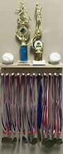 Award Medal Display Rack And Trophy Shelf 12 Medals Ball Holder Natural MADE USA