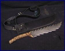 Sabersmith Dascus Leaf Blade Dagger Sword w/ Leather Sheath
