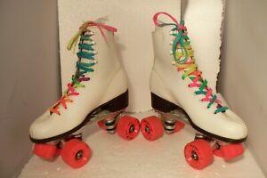Vintage Labeda Women Size 8 Roller Star Roller Skates White Leather & Orange