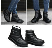 Mens Winter High Top Waterproof Shoes Fur Lined  Warm Casual Snow Boots Lace UP