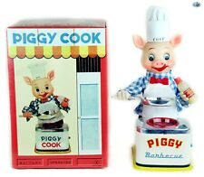 "Original 1940s Japanese Vintage ""Piggy Chef Cook"" Battery Operated Toy with Box"