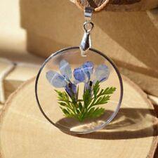 Bottle Romantic Dried Flowers Vintage Round Flowers Necklace Pendant Glass