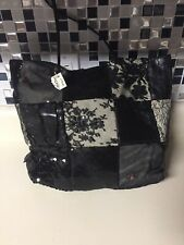 LL DESMO BLACK Patchwork Lace Sequin Snake BAG Tote New