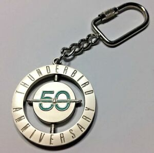 NEW METAL OEM CLASSIC STYLE FORD THUNDERBIRD 50TH ANNIVERSARY SPINNING KEYCHAIN!