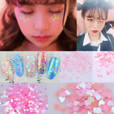 12 Boxes 3D Decoration Nail Art Glitter Sequins Flakie Rhinestone Heart AB Color
