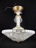 Vintage 30s Art Deco Chandelier Ceiling Light Fixture Antique Glass Shade Retro
