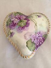 Antique T&V Limoges Hand Painted Purple Floral Porcelain Dresser Heart Box