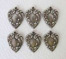 Antiqued Silver Ox Heart Charm Embossed Victorian Style 17mm