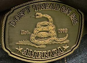 Don't Tread on Me Belt Buckle Gadsden Flag Snake Bronze