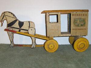 Rich Toys Wooden & Tin Litho Borden's Dairy Horse Drawn Cart, Milk, Farm