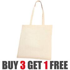 Plain Natural Shopping Shoulder Tote Shopper Bags 100% Cotton Canvas Grocery Bag