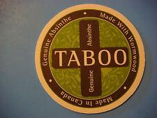 Beer Coaster ~ Okanagan Spirits TABOO Genuine Absinthe ~ British Columbia CANADA