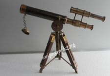 Vintage Maritime Brass Nautical Telescope With Wooden Tripod Working Scope Item.