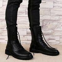 Men's Round Toe Black Punk Leather Military Lace Up Gothic Combat Ankle Boots