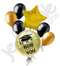 7 pc Gold Black Now Look at You Grad Balloon Bouquet Party Decoration Graduation