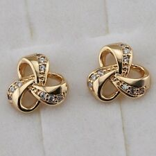 Yellow Gold Filled Stud Earrings h2697 Cute Simple Nice White Cz Gems Jewelry